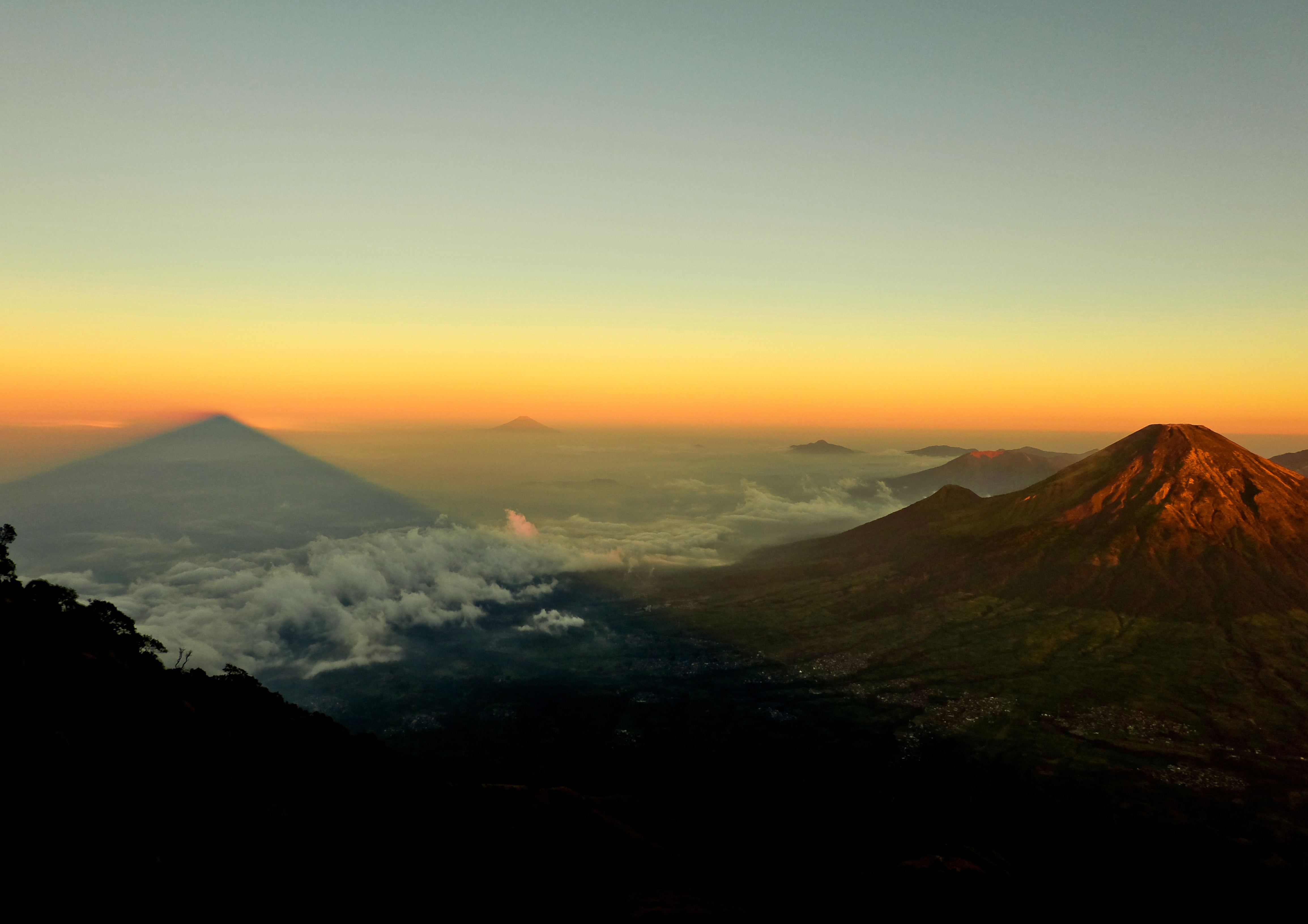 Volcanoes with sunset sky
