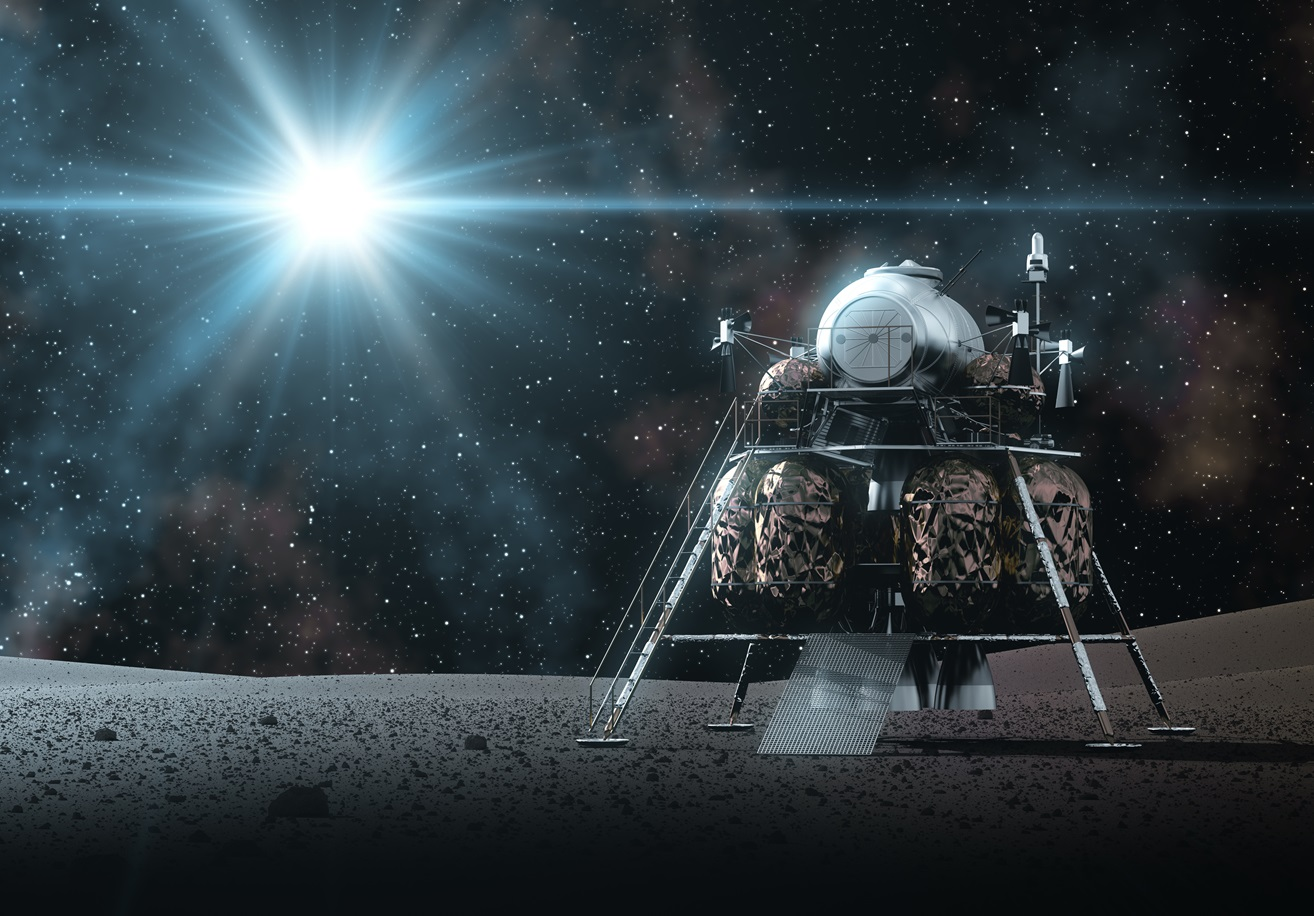 Space Lander On The Rays Of Light. 3D Illustration.