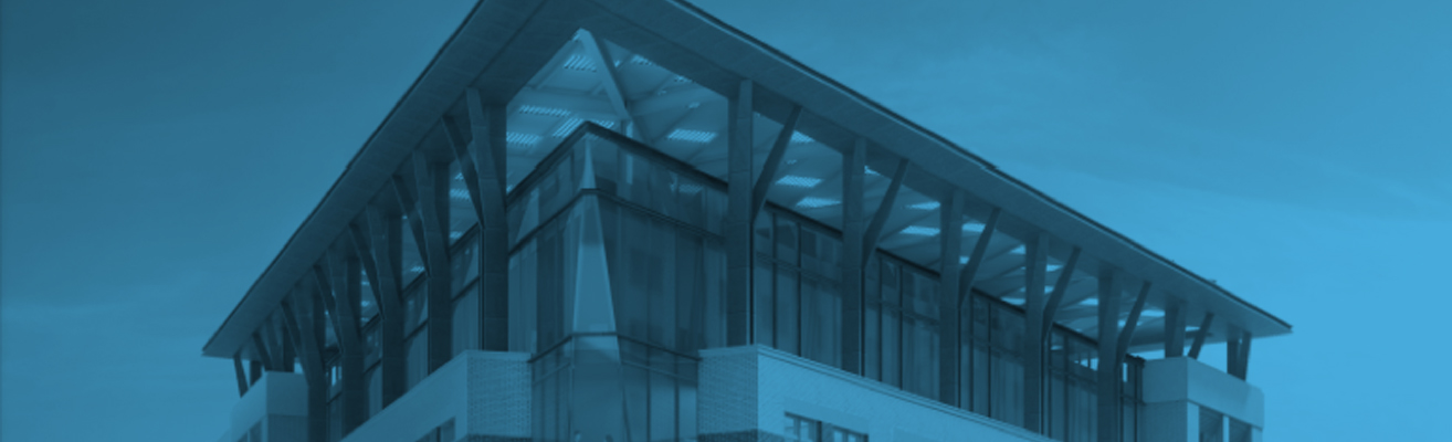 A rendering of the AGU building headquarters side and roof with a blue overlay