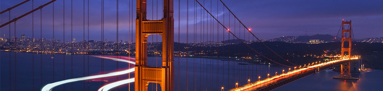 The Golden Gate Bridge lit up at night