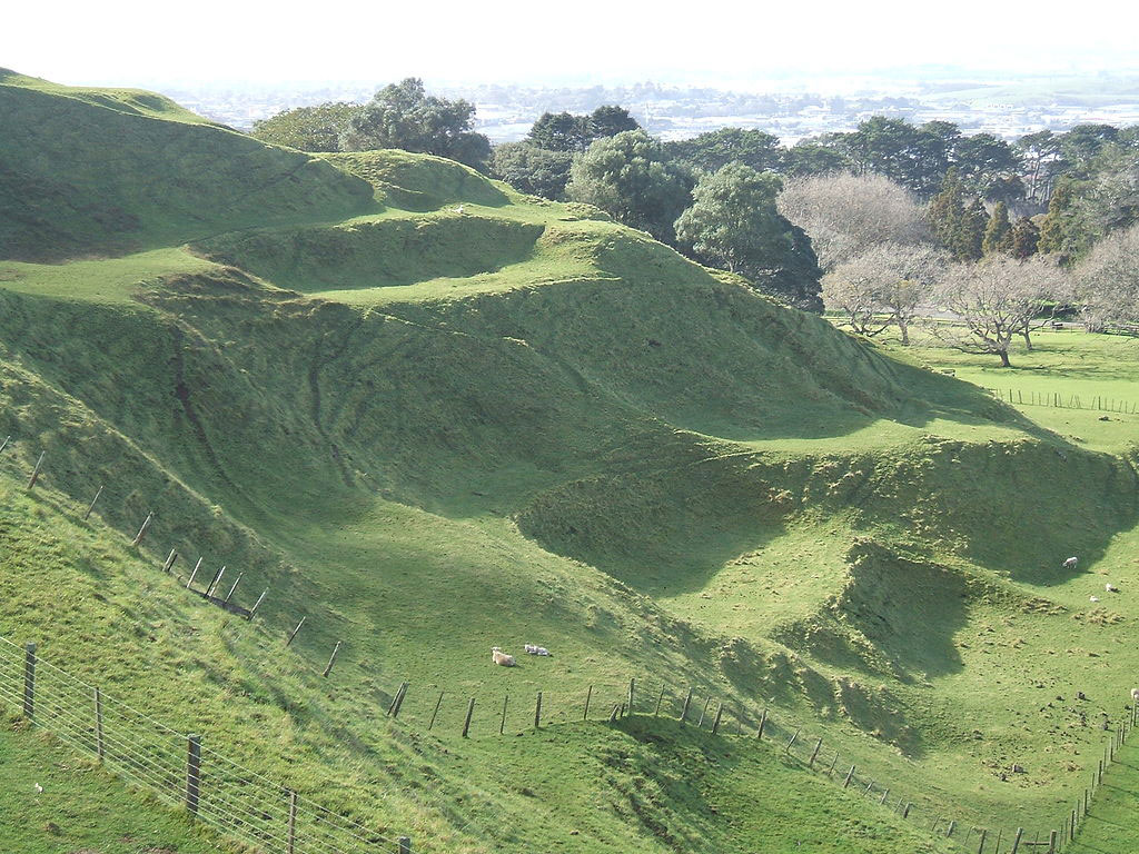 View of the One Tree Hill volcanic peak in Auckland