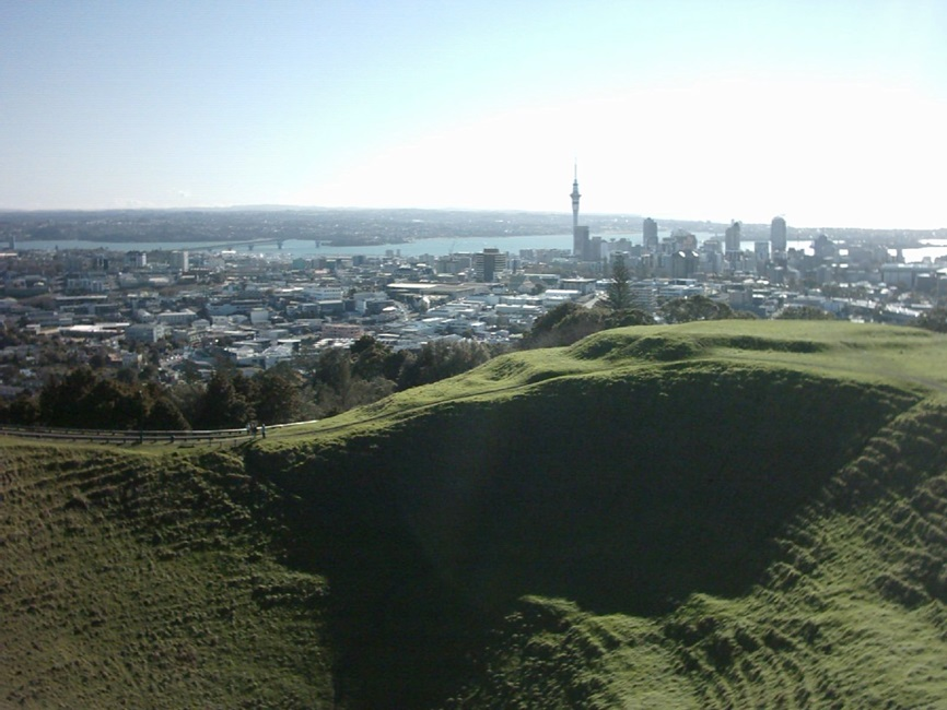 View of Mount Eden Crater Hollow with the Auckland skyline in the background
