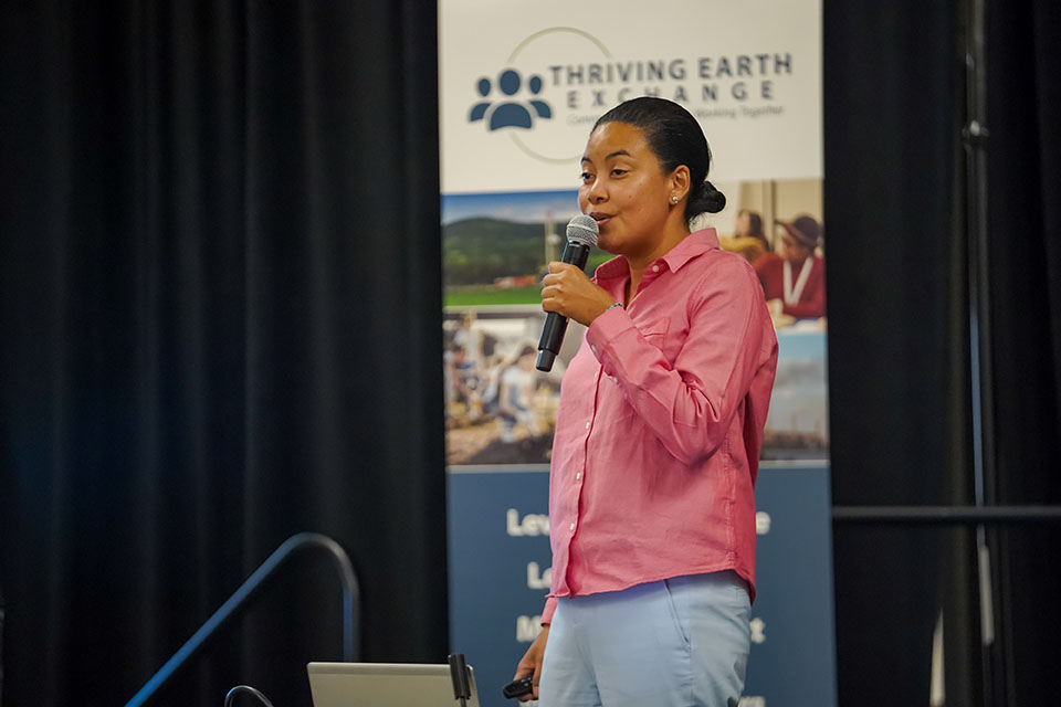 Woman speaks at Thriving Earth Exchange event