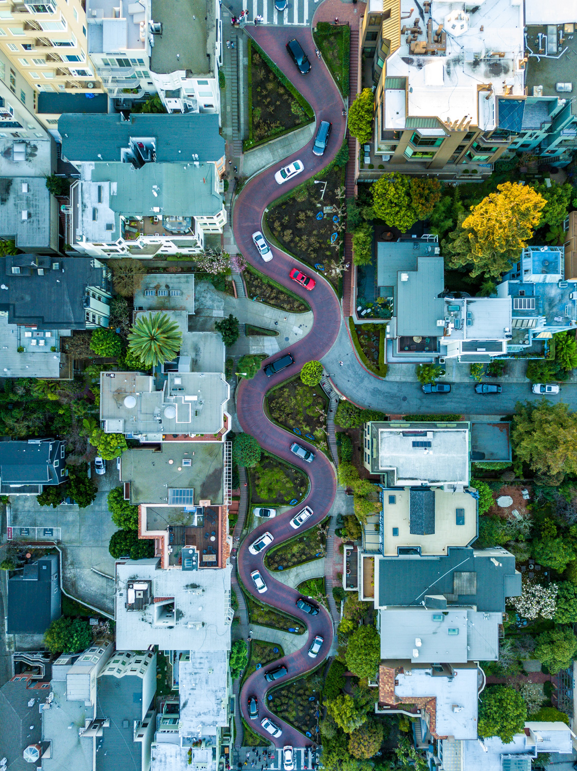 An aerial  view of the sindy Lombard Street in San Francisco with a number of cars traveling down the road.