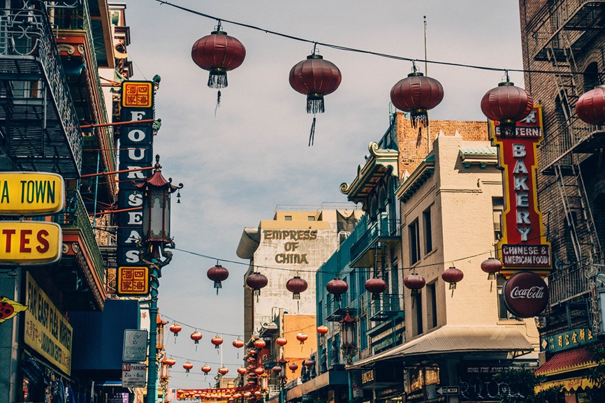 San Francisco Chinatown city streets with paper lanterns