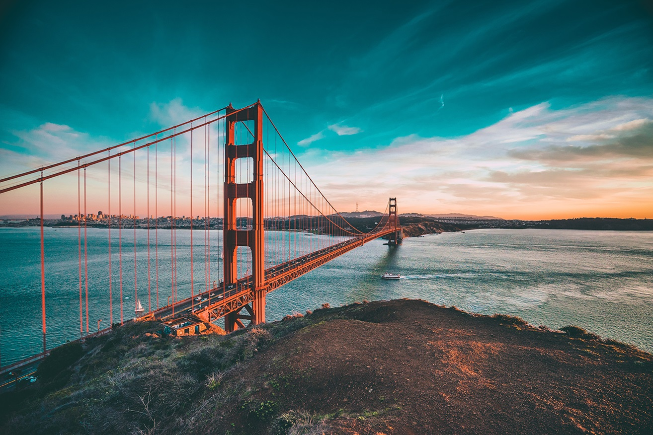 San Francisco Golden Gate Bridge with colorful sky