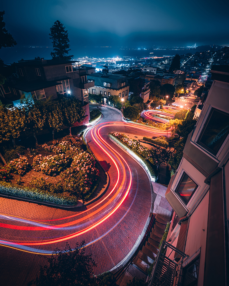 AGU-San Francisco-night-Lombard street-city