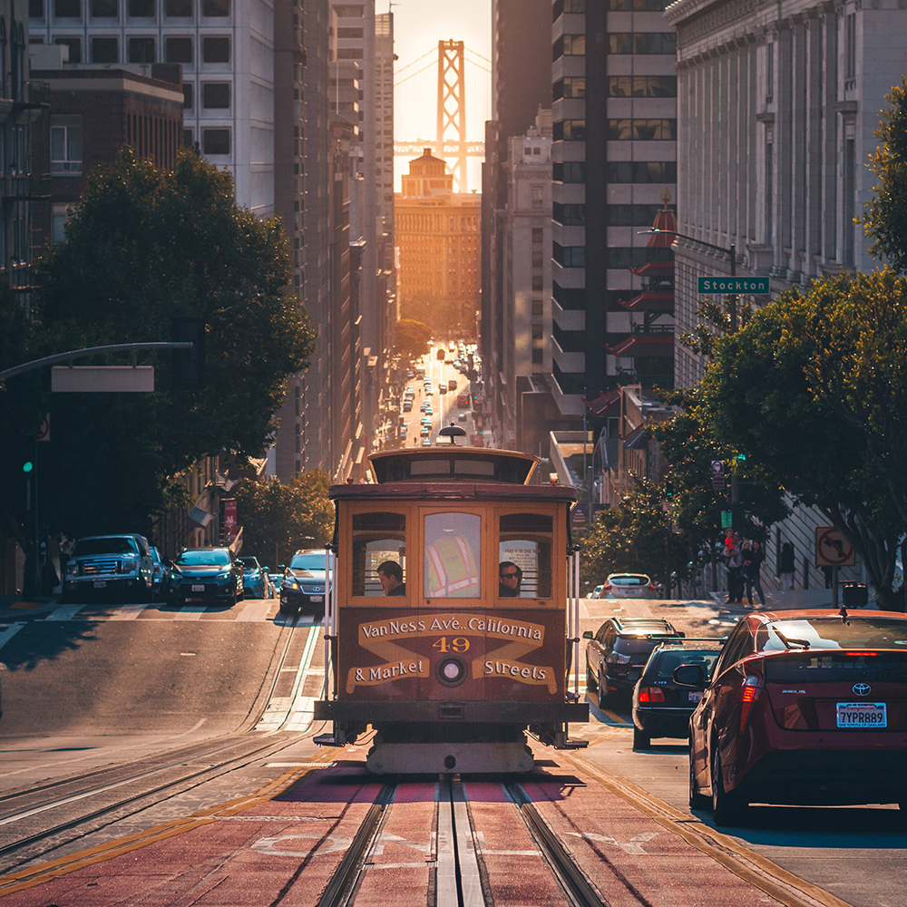 Street view of San Francisco trolly with buildings in background
