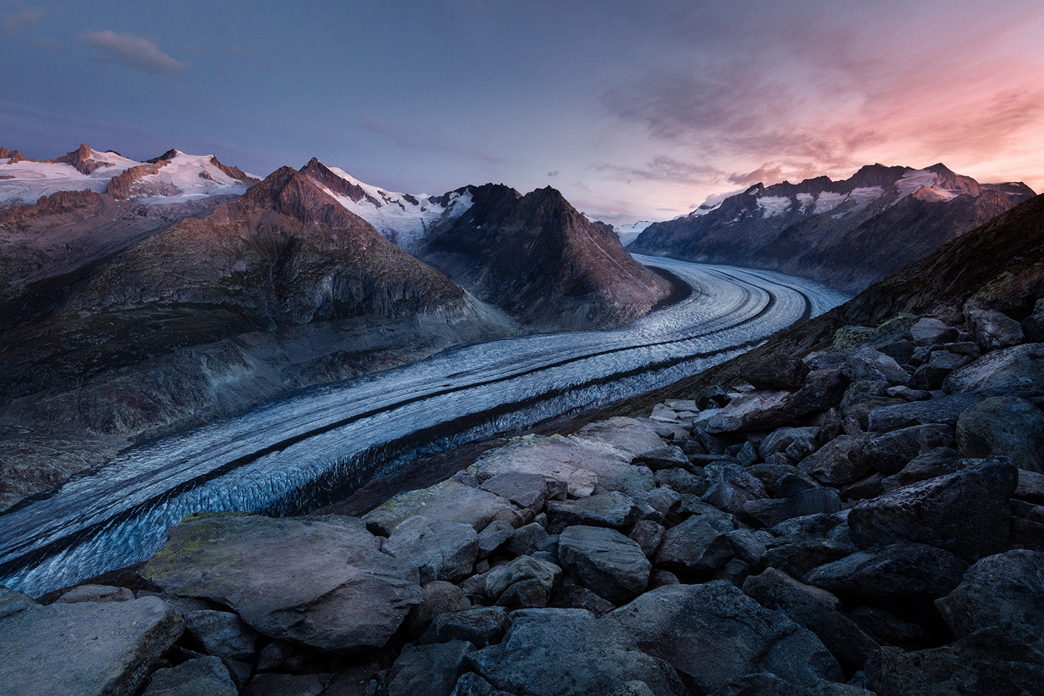 Mountain glaciers at sunset