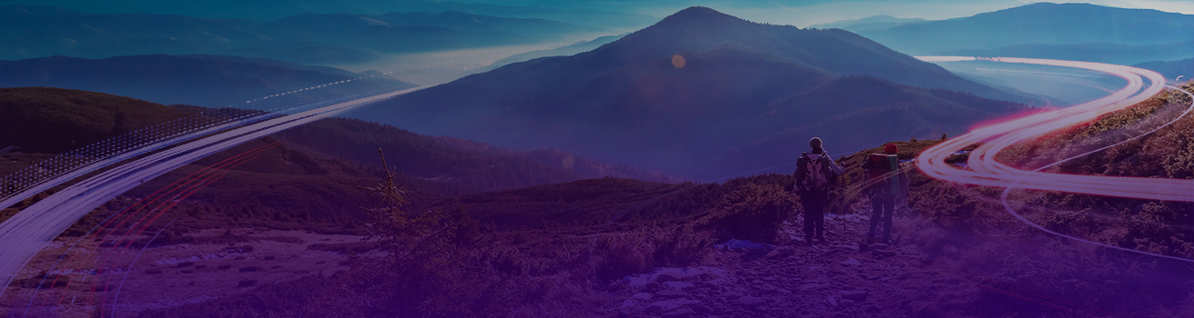 Banner image of two people hiking in front of a mountain with a swoosh of light around the mountain