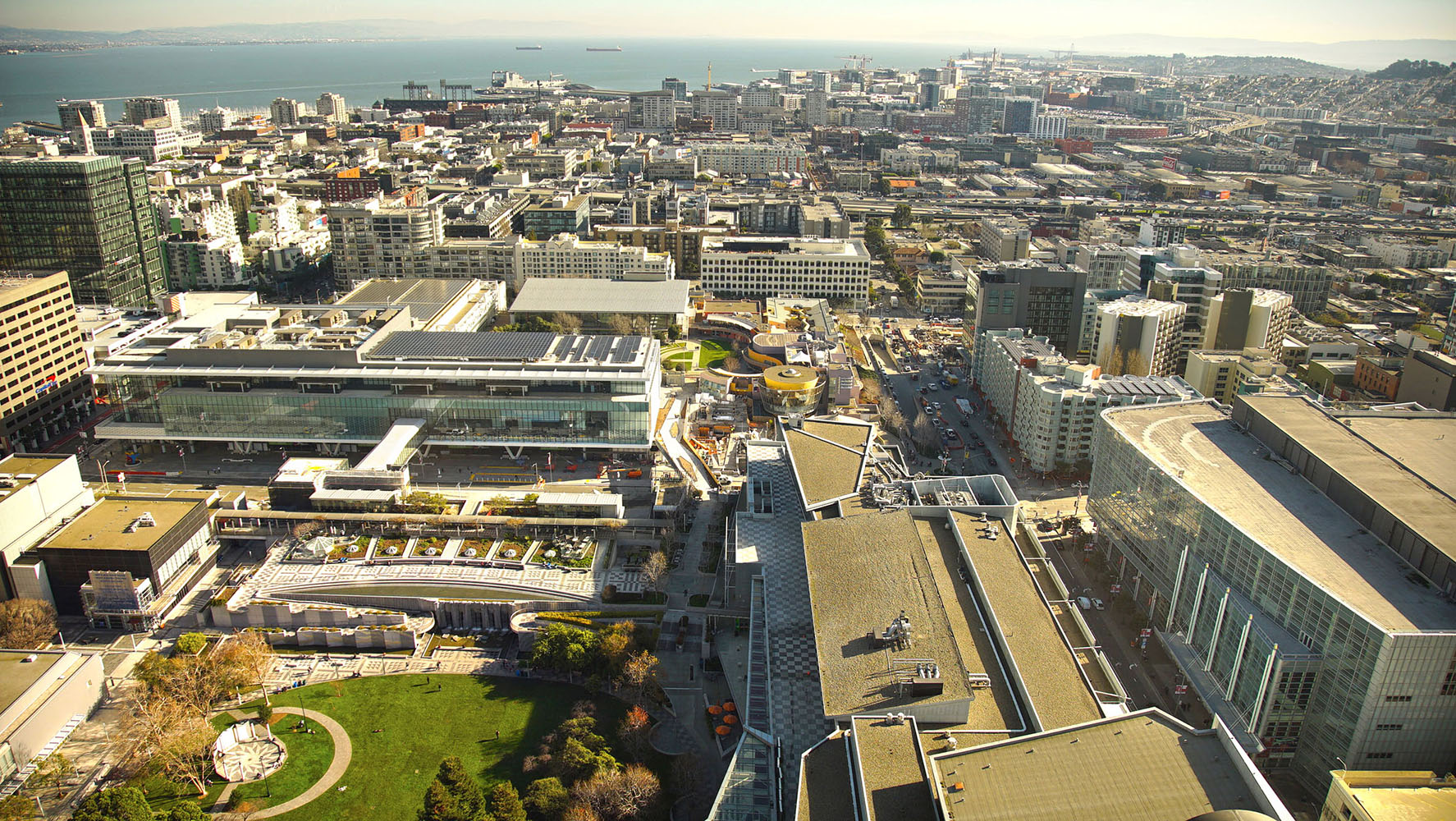 Aerial view of the Moscone Center and its solar photovoltaic array.