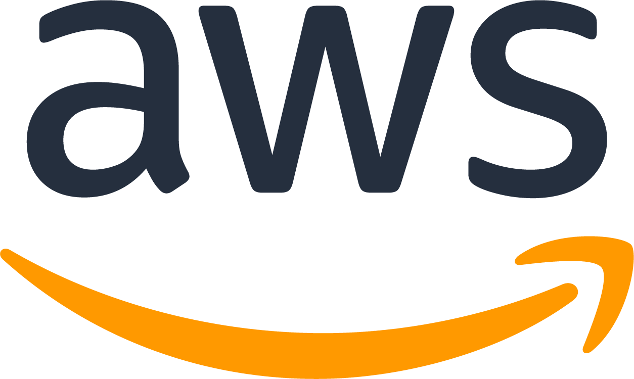 "Amazon Web Services Logo with text ""aws and a yellow arrow below the text."