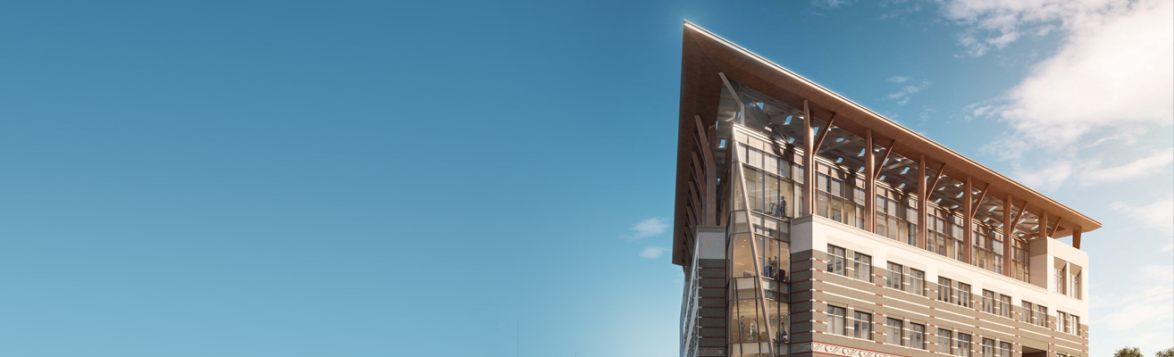 A rendering of the AGU building's glass Prow with blue skies