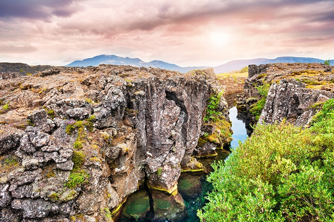 Cliffs and deep fissure in Iceland