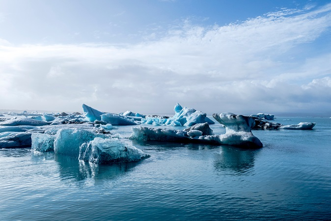 Icebergs floating in water