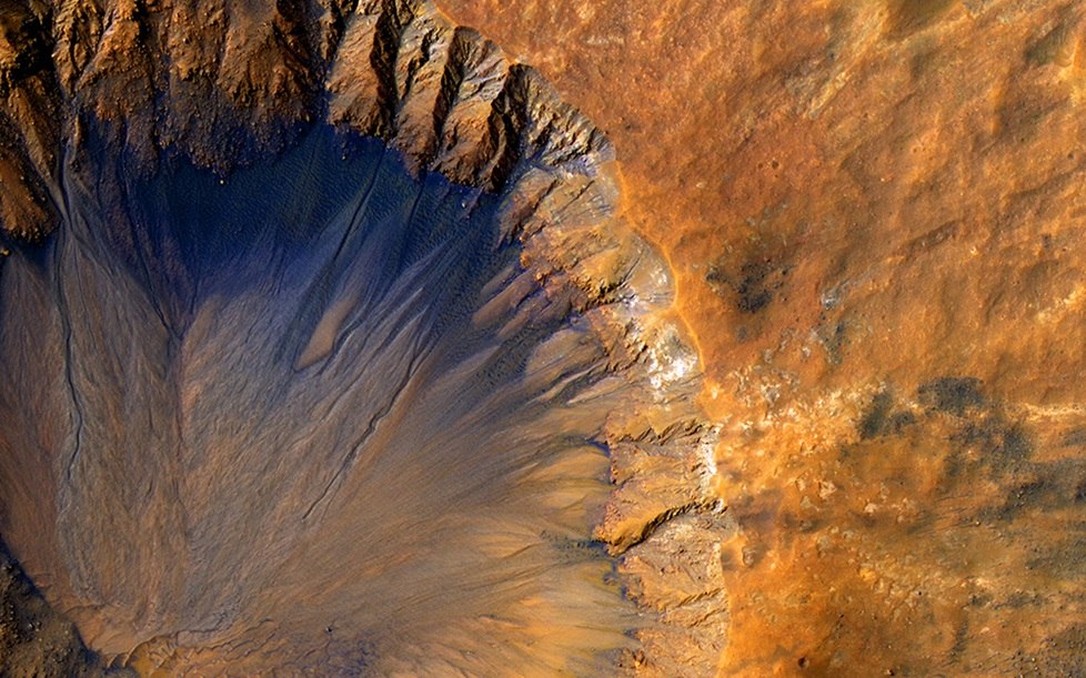 View from above of a impact crater