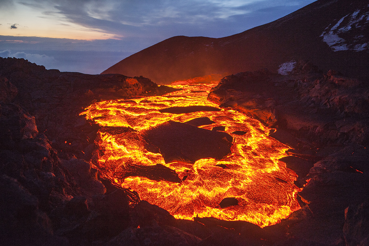 Lava lake of a volcanic eruption