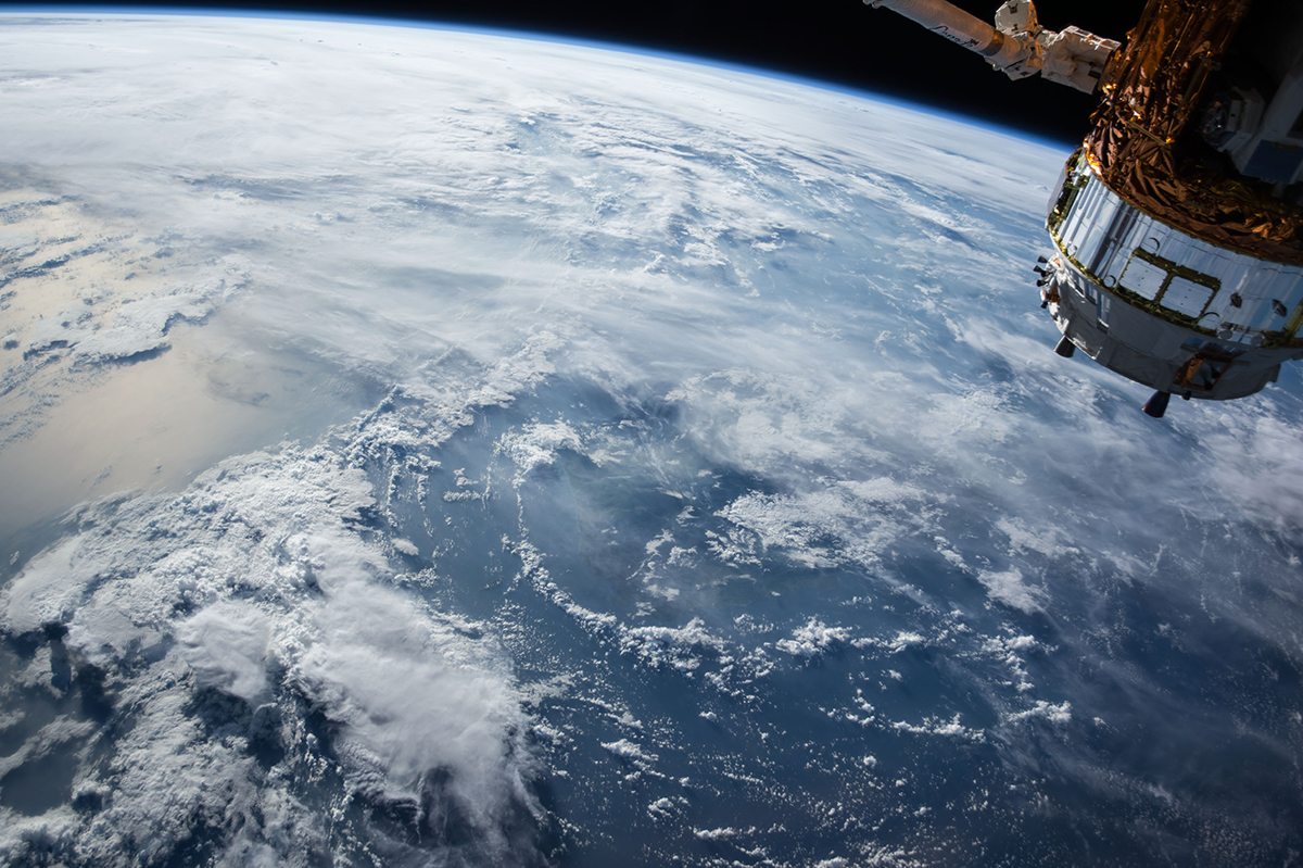 Image of Earth from space with Satellite