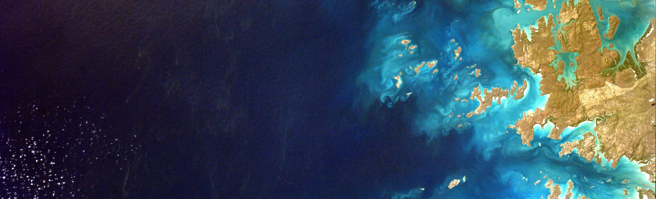 Satellite view of water and coastline