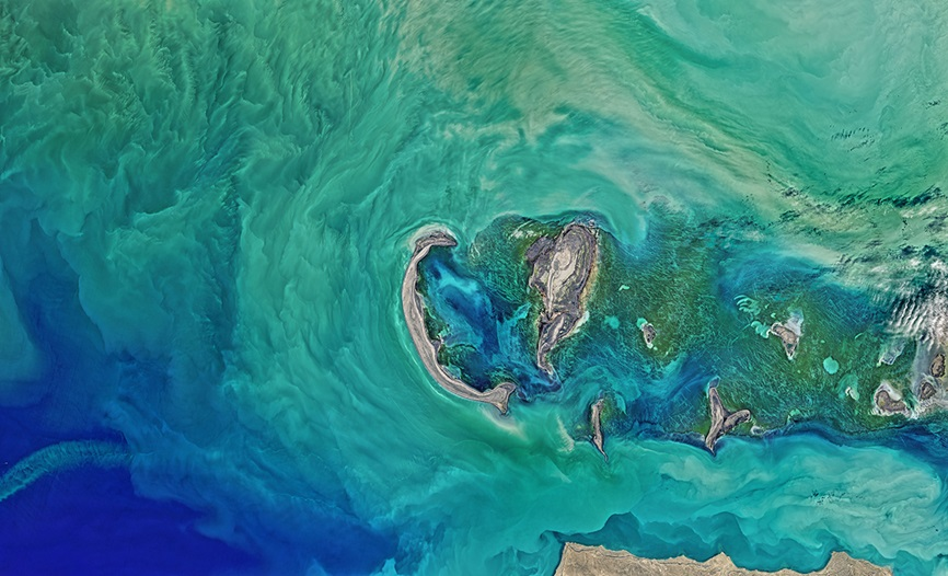 Satellite view of the Caspian Sea