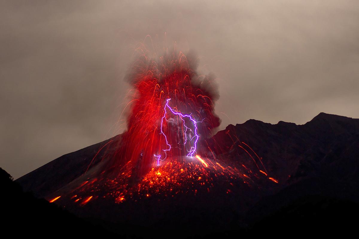Volcano erupting with lightning in Japan