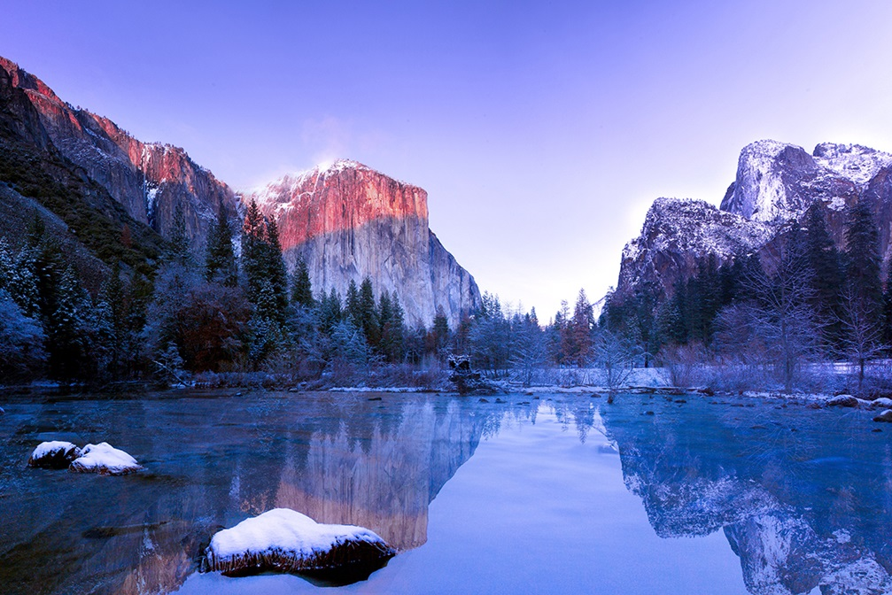 Lake with mountain reflection in Yosemite Valley, United States