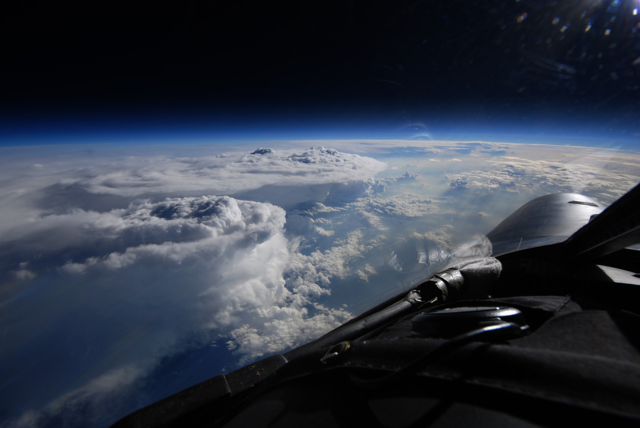 A NASA ER-s at 70,000ft over severe convection during the NASA Integrated Precipitation and Hydrology Experiment (IPHEx)