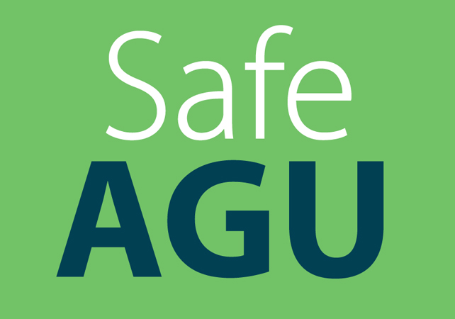 The text Safe AGU on a green background
