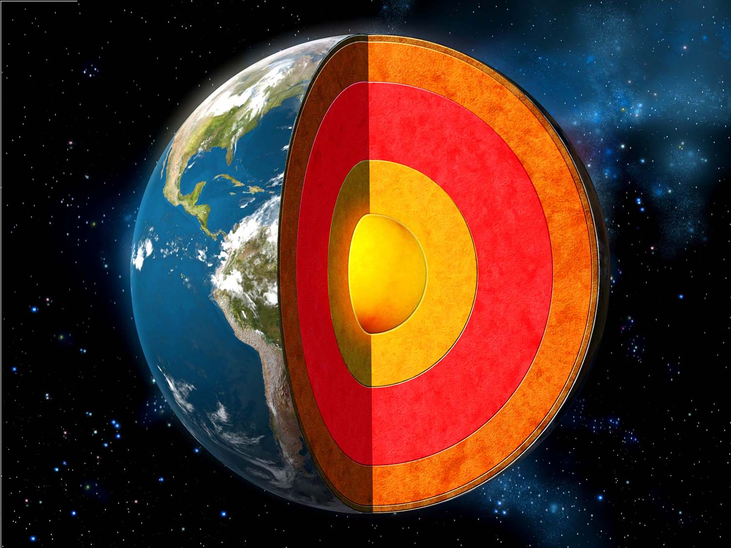 Illustration of earth cross section showing its internal structure