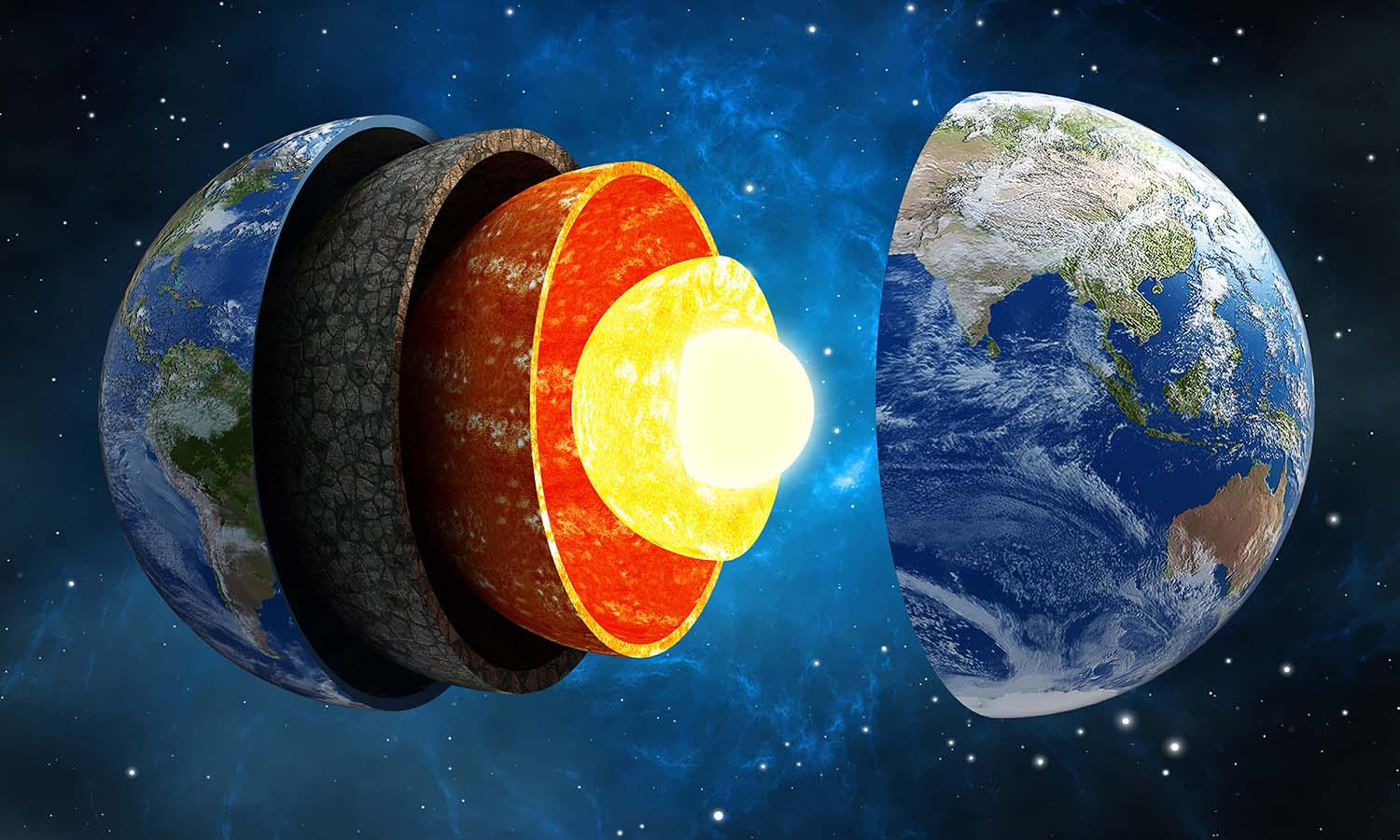 3D illustration showing layers of the Earth in space