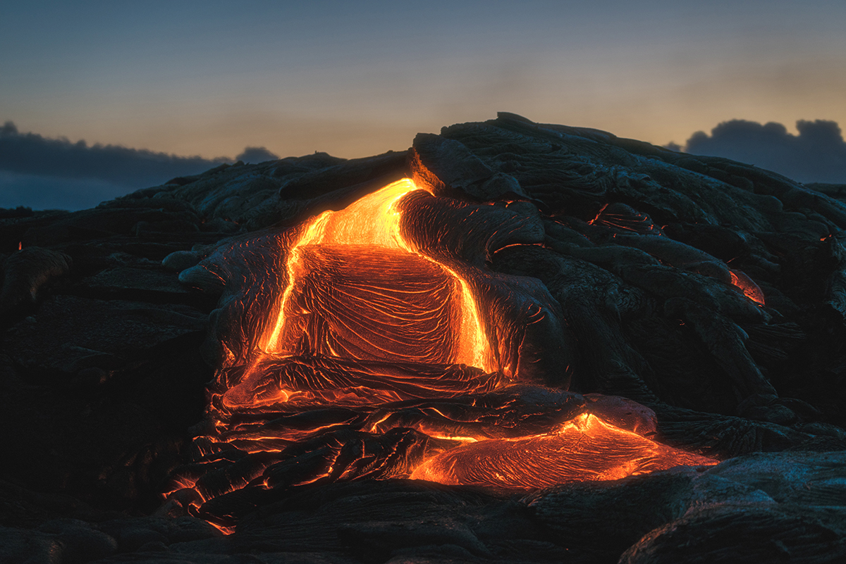 Lava field of the Kilauea volcano in USA
