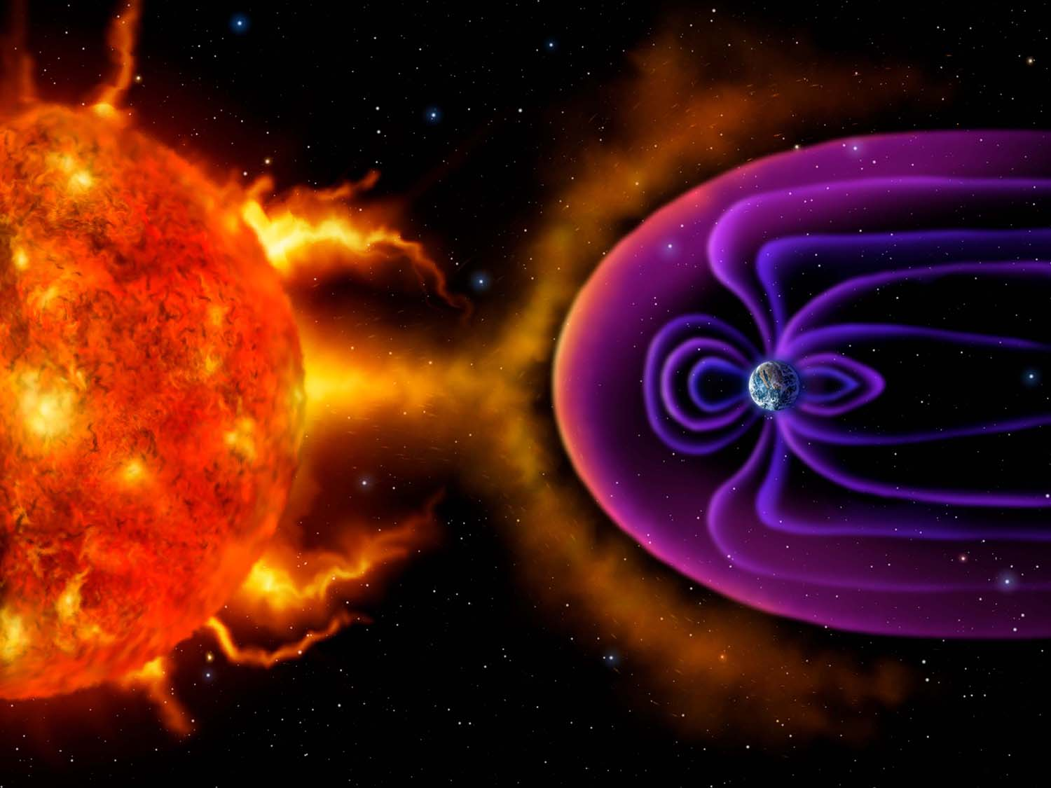 Digital illusustration of the Earth's Magnetosphere deflecting solar wind and radiation from the Sun