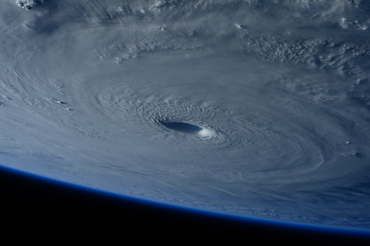 Satellite image of eye of a hurricane