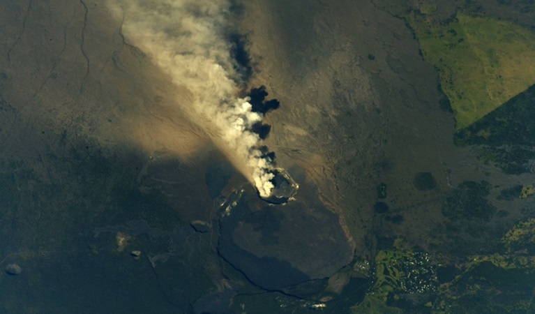 Aerial image of Kilauea Volcano in Hawaii from the international Space Station.
