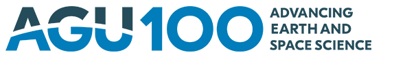 "Blue AGU logo with the words ""AGU100 advancing Earth and space science"""