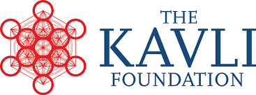 Logo for the Kavli Foundation with red geometric shape and blue text