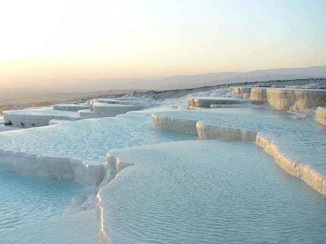 "sprawling limestone formation called ""Pamukkale"" or ""cotton Castle"" in southwest Turkey."