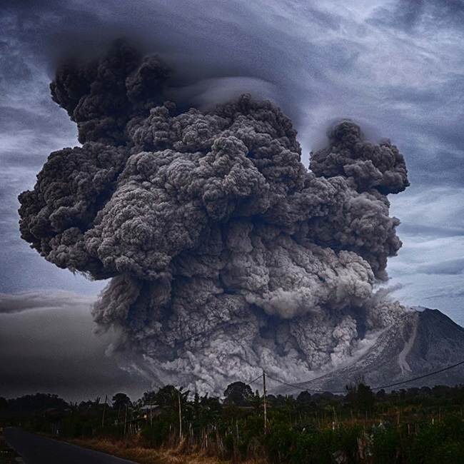 Volcano erupting ash on Mount Sinabung, Indonesia
