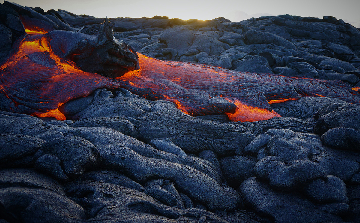 Flowing lava at Hawaii Volcanoes National Park