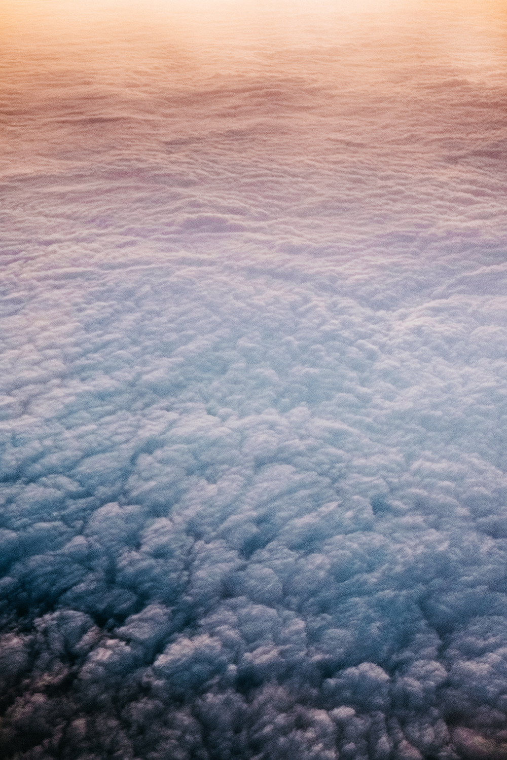 Bed of clouds shot from above