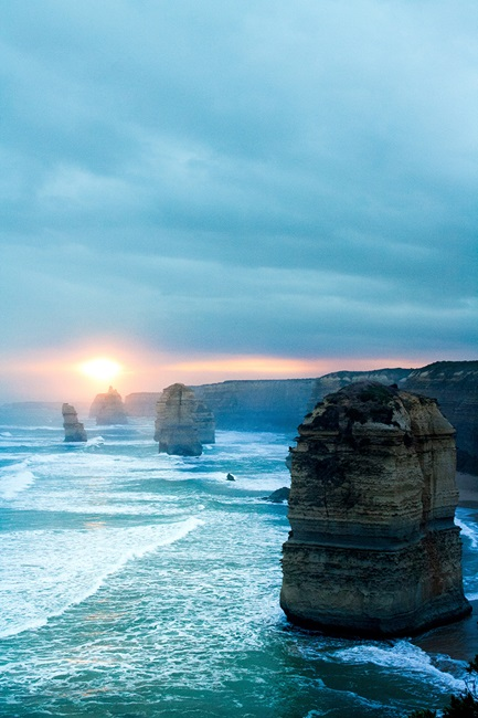 Dusk at coastline of the Twelve Apostles, Australia