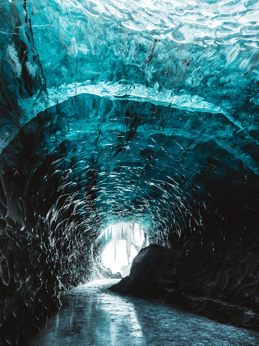 Ice tunnel in glacier