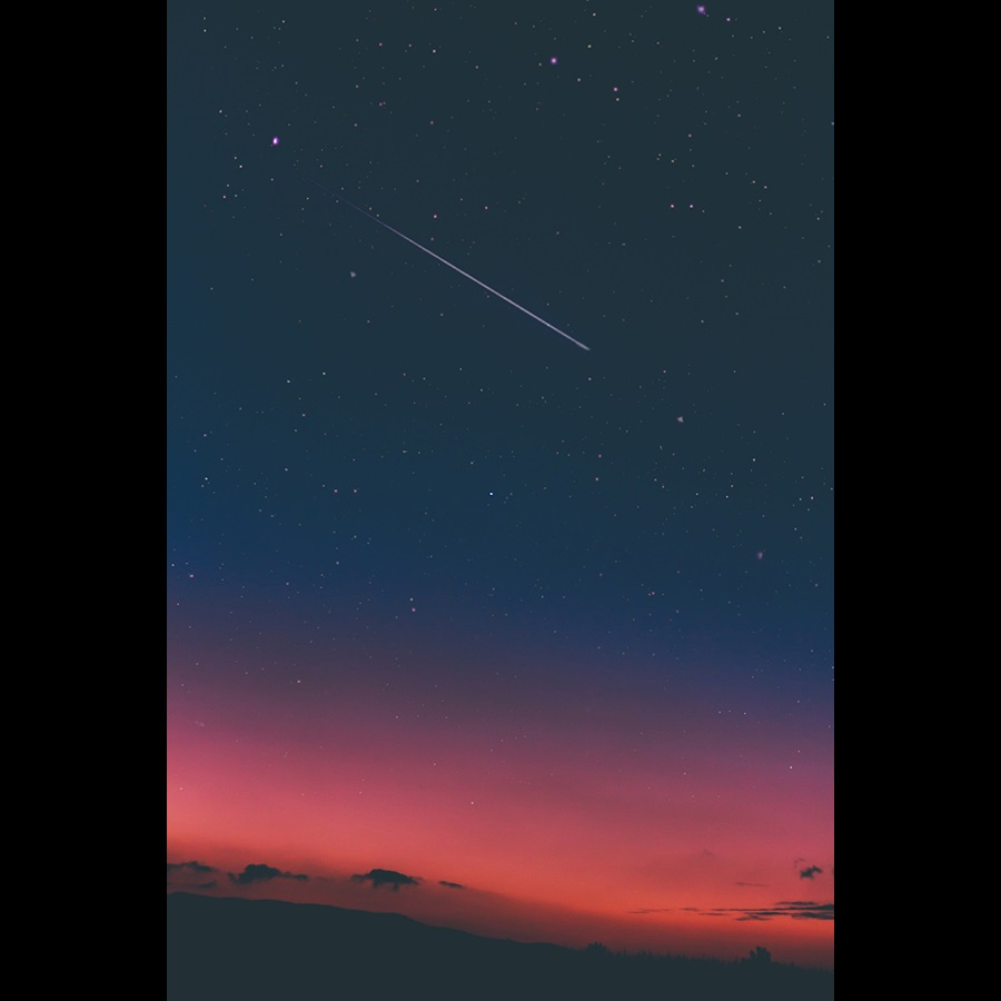 Night sky with shooting star in USA