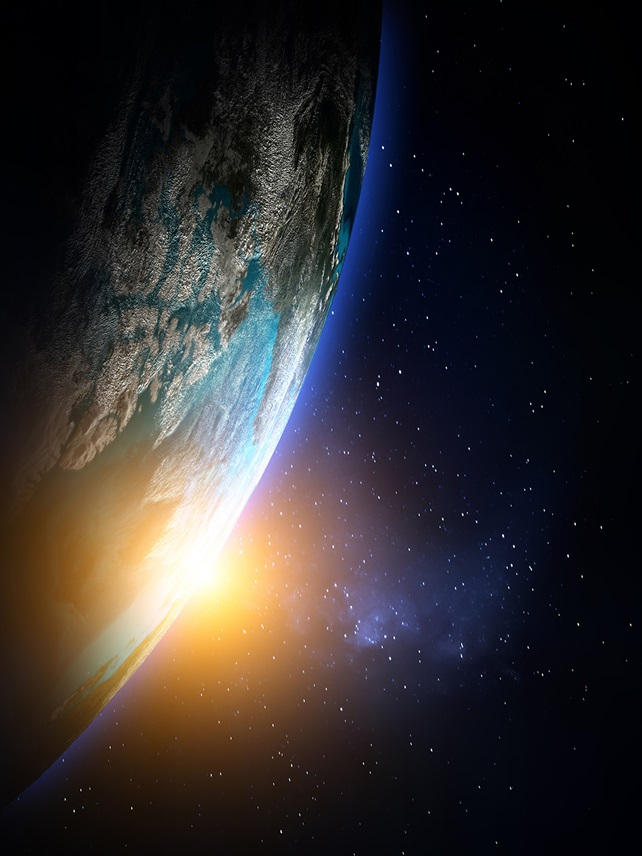 Earth from space with sunrise and stars